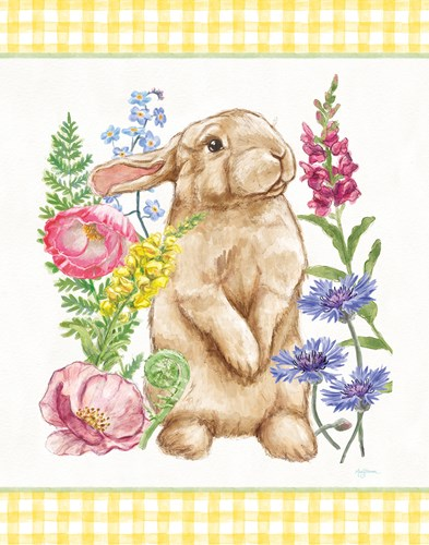 Sunny Bunny III Checker Border Poster by Mary Urban for $37.50 CAD