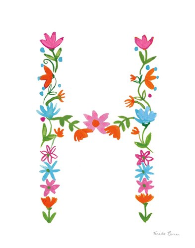 Floral Alphabet Letter VIII Poster by Farida Zaman for $37.50 CAD