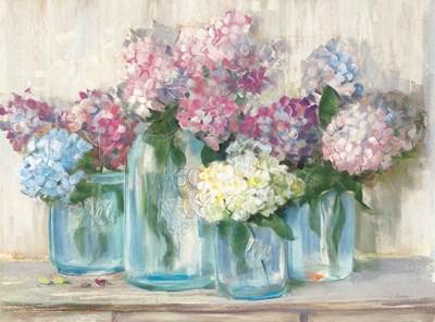Hydrangeas in Glass Jar Pastel Crop Poster by Carol Rowan for $68.75 CAD