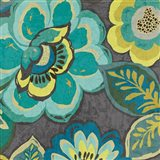 Floral Assortment Teal on Dark Grey Crop I