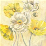 Gold and White Contemporary Poppies I