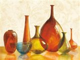 Colorful Glass Vessels on Ivory