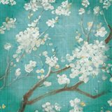 White Cherry Blossoms I on Blue Aged No Bird