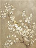 White Cherry Blossom II Neutral Crop Bird
