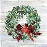 Holiday Wreath I on Wood