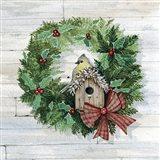 Holiday Wreath III on Wood