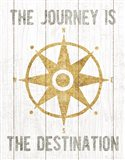 Beachscape IV Compass Quote Gold Neutral