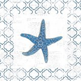 Navy Starfish on Newsprint