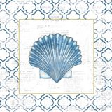 Navy Scallop Shell on Newsprint with Gold