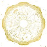 Night Sky Zodiac White and Gold