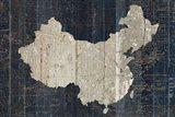 Old World Map Blue China