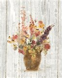 Wild Flowers in Vase I on Barn Board