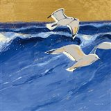 Seagulls with Gold Sky III