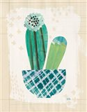 Collage Cactus II on Graph Paper Teal