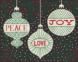 Jolly Holiday Ornaments Peace Love Joy