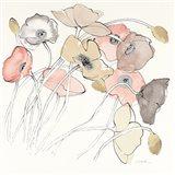 Black Line Poppies II Watercolor Neutral