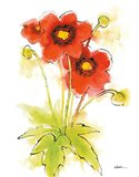 Flores Rojas Green Leaves II