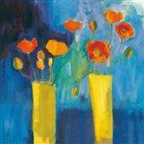 Cadmium Orange Poppies on Blue v2