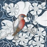Arts and Crafts Bird Indigo I