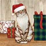 Christmas Kitty on Planked Wood