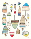 Lobster Buoys on White