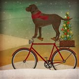 Brown Lab on Bike Christmas