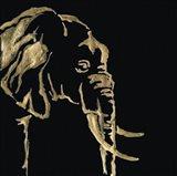 Gilded Elephant on Black