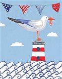 Coastal Bird I Flags on Blue