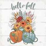 Fall Fun II - Gray and Blue Pumpkin