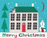 Jolly Holiday Home on Blue Merry Christmas