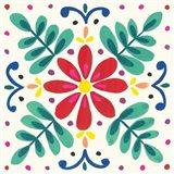 Floral Fiesta White Tile VI