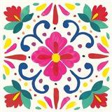 Floral Fiesta White Tile VII