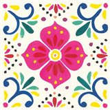Floral Fiesta White Tile IX