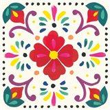 Floral Fiesta White Tile XII