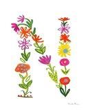 Floral Alphabet Letter XIV