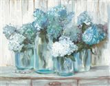 Hydrangeas in Glass Jars Blue