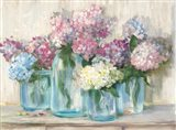 Hydrangeas in Glass Jar Pastel Crop