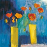 Cadmium Orange Poppies on Blue