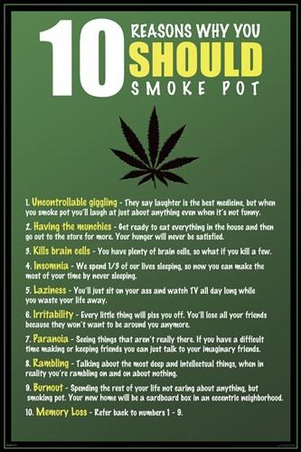 10 Reasons to Smoke Pot Poster by Unknown for $12.50 CAD