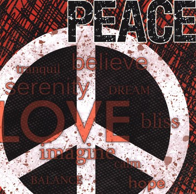 Peace - Red Black and White Poster by Louise Carey for $12.50 CAD