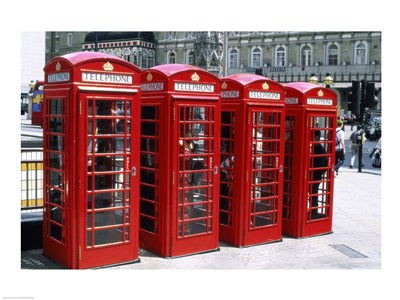 Telephone booths in a row, London, England Poster by Unknown for $63.75 CAD