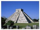 Old ruins of a pyramid,  Chichen Itza Mayan