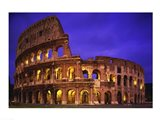 Low angle view of a coliseum lit up at night, Colosseum, Rome, Italy