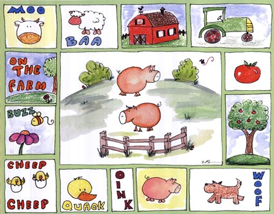 All Around the Barnyard- Pigs Poster by Serena Bowman for $25.00 CAD