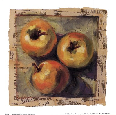 3 Yellow Apples Poster by Sarah Waldron for $10.00 CAD