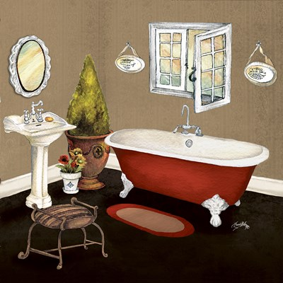 Red Master Bath I Poster by Elizabeth Medley for $12.50 CAD