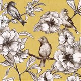 Peonies and Birds On Yellow I
