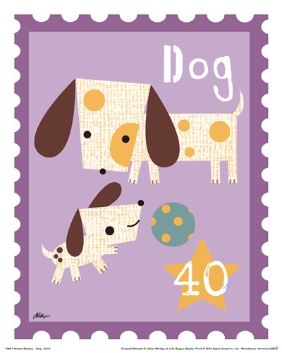 Animal Stamps - Dog Poster by Jillian Phillips for $11.25 CAD