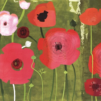 Ranunculus on Green Poster by Susy Pilgrim Waters for $36.25 CAD