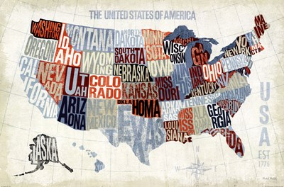 USA Modern Blue Poster by Michael Mullan for $36.25 CAD